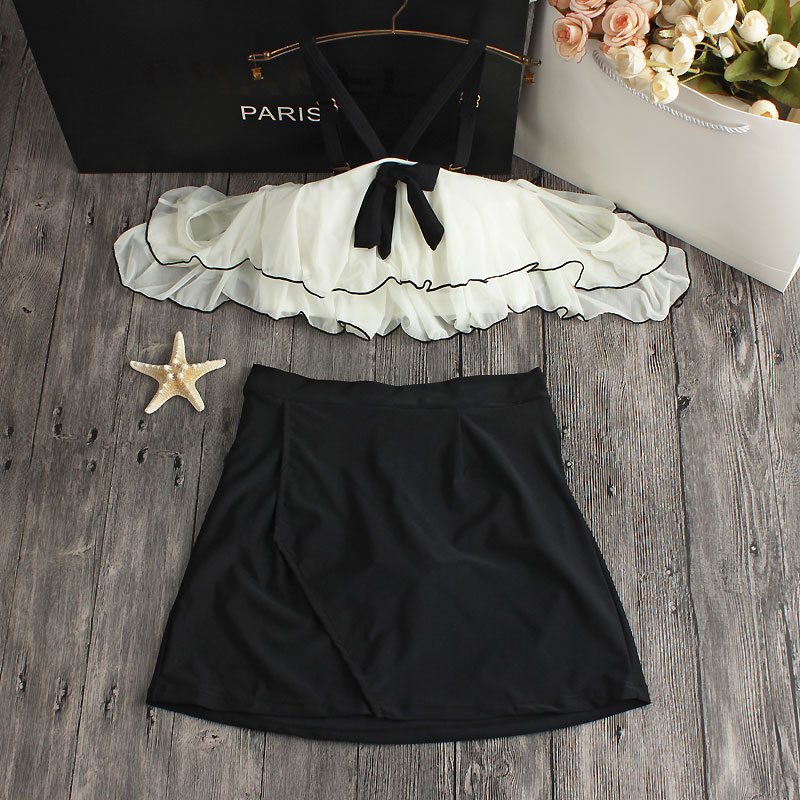 Bikini 2017 Ruffle Vintage Bandeau Swimsuit bathing suit sexy women High waist Skirt swiming suits Off Shoulder Swimwear Dress<br>