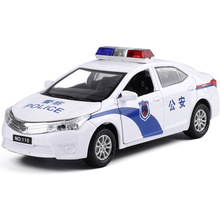 New police 110 car model 1/32  Alloy diecast car model with sound flashing alarm lights collections toy vehicels
