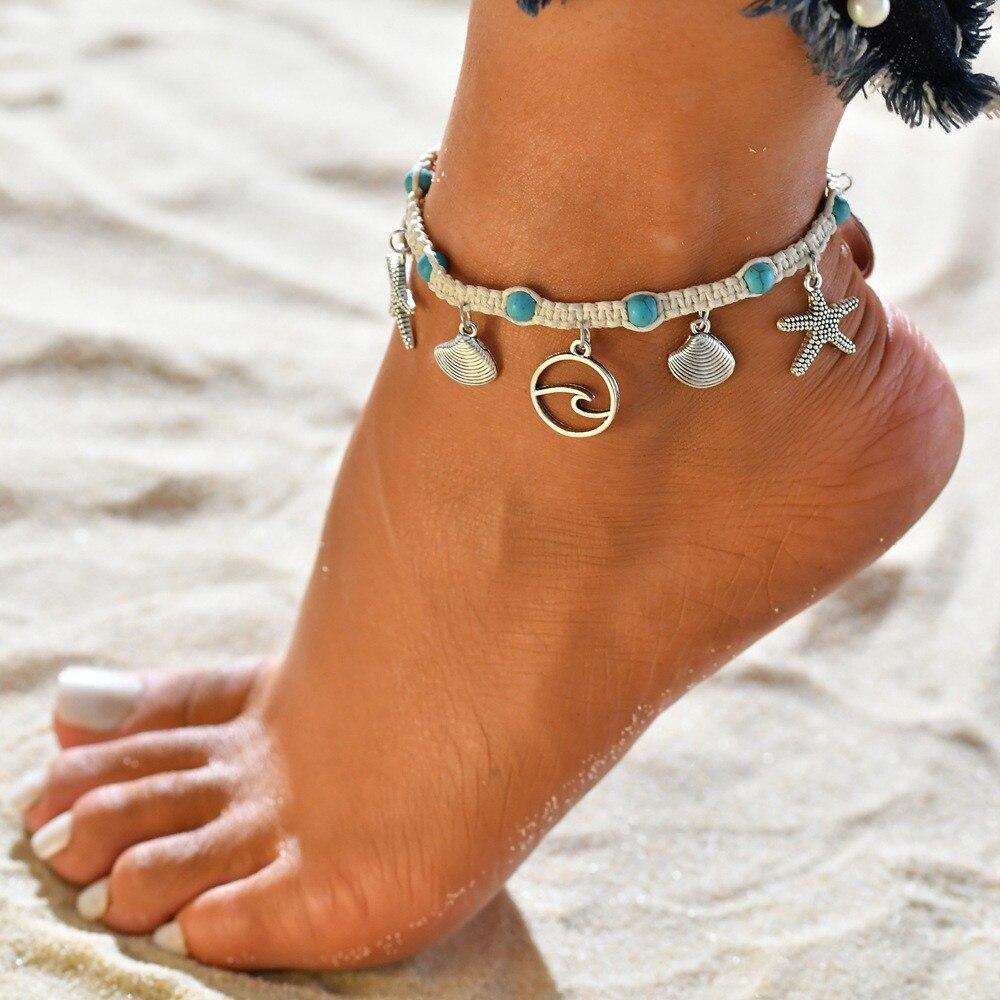 Plata Flores con campanas de Moda de Mujer Pulsera Tobillo Tobillera Playa Cadena Pie
