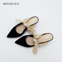 Buy Handmade women pumps genuine leather spring 2017 new office lady high heels slip-on pointed toe mules shoes big size 41 42 43 for $45.00 in AliExpress store