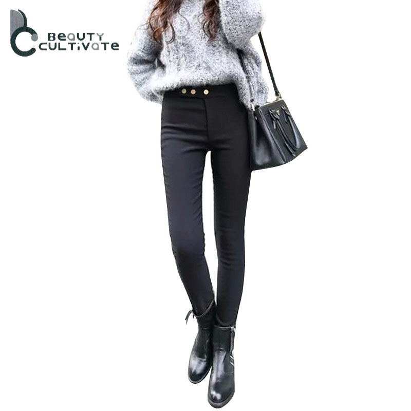 Korean version of spring and summer thin section three button high waist jeans female feet pants nine points  thin leggings 008Одежда и ак�е��уары<br><br><br>Aliexpress