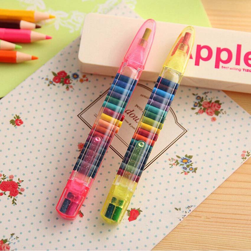 2 Set 20 Colors Pop Up Crayons Pencils Graffiti Drawing Crayon Pen Gift for Kids Children Gifts School Supply