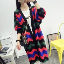 Women Korean Clothing Long Loose Sweater Female Casual Geometric Pattern Wool Blends Knitted Thick Cardigans Knitwear 2016 SW40