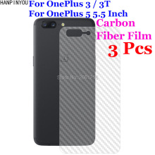"3 Pcs/Lot For Oneplus 3 5 Three Five 5 1+ 3 5 5.5"" 3D Non-slip Clear Carbon Fiber Back Film Screen Protector Protective Sticker"