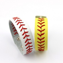 MLB Basebal Leather Bracelets Classic Baseball Leather Bracelets Jewelry Team School Sport Fan Match Bat Glove