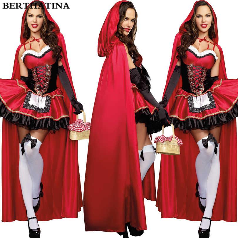 7d77a753c4f 2018 Красная Шапочка костюм для Для женщин фантазии взрослого Хэллоуин  Косплэй фантазия плюс Размеры 2XL платье