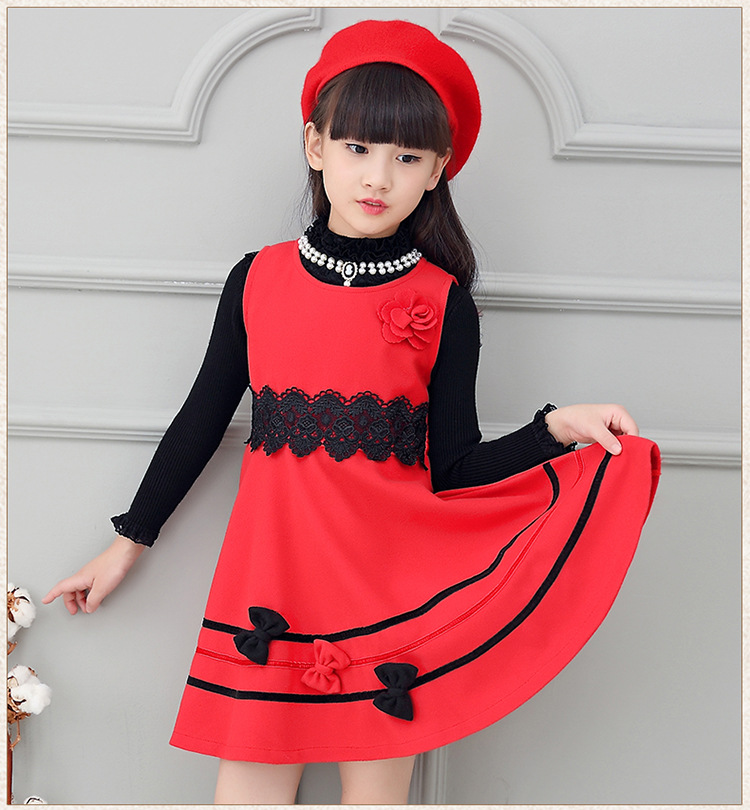 11.11 Girls Dresses Red Sleeveless Woolen Spring Winter Dress Girls O-neck Princess Dress For 4-12Y AD-1633<br><br>Aliexpress