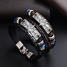 Classic Men Pirate Ship Rudder Leather Bracelet Cuffs Knitted Bracelet Manual Weave Leather Anchor Bracelet Charm Party Gift(China)