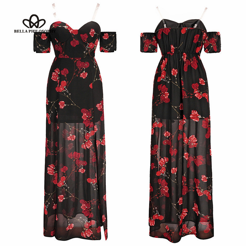 Wonder 2019 new bohemian printed A-line dress strapless high waist slash neck sexy floral dress split backless female dress