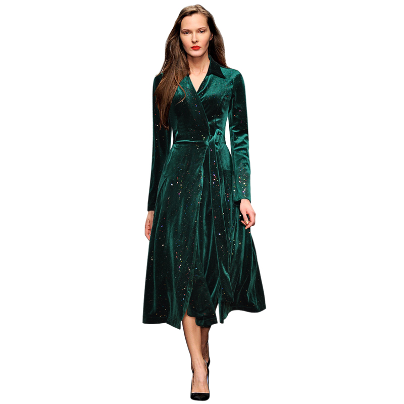 runway clothing green  black velvet long glitter dress v neck tie belt long sleeve a line midi dresses elegant women's dress