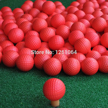 2017 New Brand Free Shipping 50 pcs/bag Red Indoor Outdoor Training Practice Golf Sports Elastic PU Foam Balls(China)