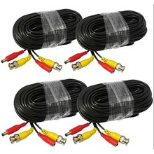 65ft BNC DC Connector Video Power Siamese Cable 4pcs/lot for CCTV Camera DVR