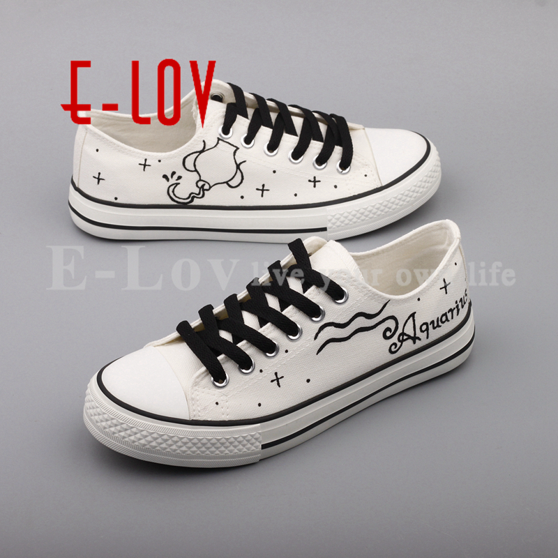 E-LOV Brand Oxford Shoes Women Hand Painted Aquarius Canvas Shoes Customized Constellation Casual Flats Shoes Ladies Espadrilles<br>