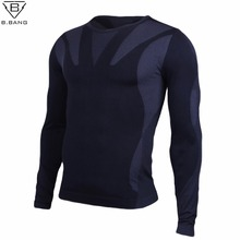 B.BANG Men's Jersey Outdoor Hiking Camping Sweatshirts Long-sleeved Round Neck T Shirt Outerdoor Male Tights Shirt(China)