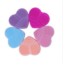 Colorful Heart Shape Make up Brushes Cleaner Wash Brush Silica Glove Scrubber Board Cosmetic Cleaning Tools for makeup brushes