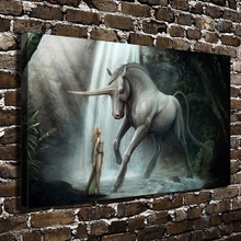 20071Sexy Girl Naked Anime Unicorn Figure Scenery.HD Canvas Print Home decoration Living Room bedroom Wall pictures Art painting