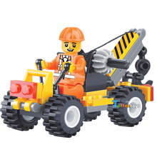 52pcs Small Crane CITY CONSTRUCTION TEAM Technic car-styling Vehicle Engineer Model Building Blocks Figure Gift Boy Toy Children