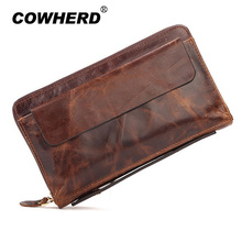 COWHERD High Quality 2017 Vintage Business Hand Bag Men Clutch Bags Long Genuine Leather Wallet Luxury Brand Male Wristlet Bag