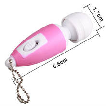 Portable Mini Massage Stick Tiny Stress Relief Electronic Key-Chain Ring Full Body Massager with Button ( Random Color )