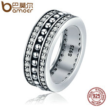 BAMOER Genuine 925 Sterling Silver Stackable Ring Forever Round Clear CZ Rings for Women Wedding Engagement Jewelry Gift PA7622