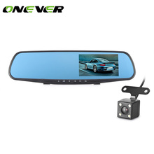 ONEVER Full HD 1080P Car DVR Camera Auto 4.3 Inch Rearview Mirror Digital Video Recorder Dual Lens Registratory Camcorder(China)