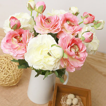 1 Pcs Colorful Tea Rose Artificial Silk Flowers Decorative Living-room Bedroom Wedding Elegant Holiday Garden Ornaments Flower