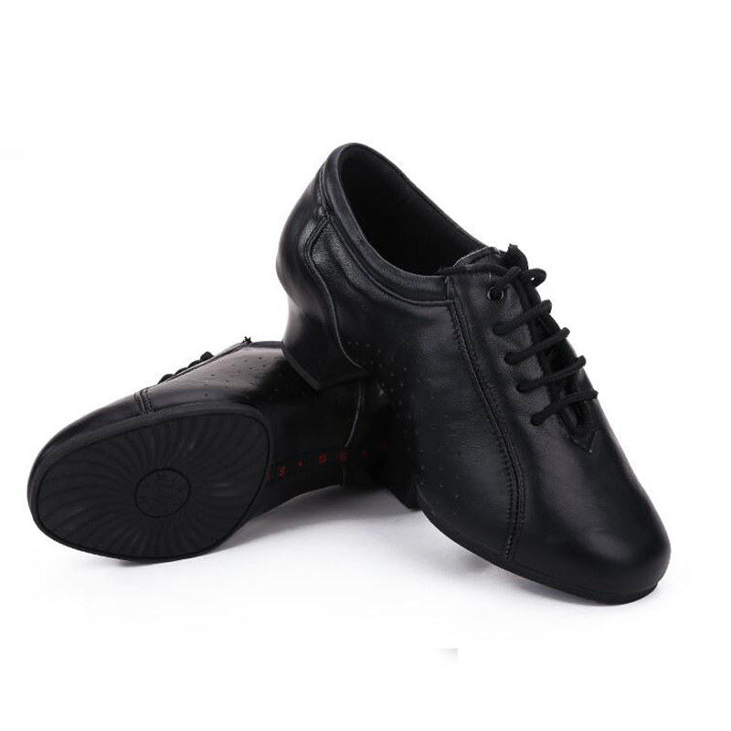 Professional Black Full Grain Leather Latin Ballroom Dance Shoes for Men Rubber Outsole Lace Up Salsa Dancing Shoes Heeled 4cm<br>