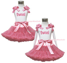 Leopard Swwet White Pettitop Top Shirt Dusty Pink Bow Pettiskirt Dress Set 1-8Y MAPSA0533