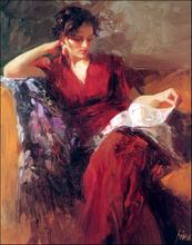 Impression Figure Painter Pino Daeni  Woman In red Painting Printed on canvas Oil Custom Painting