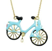 Unique GoldLovely Blue Enamel Bicycle Bike Pendant  Necklace Long Chain For Fashion Women Cutting Acylic Jewelry collier femme