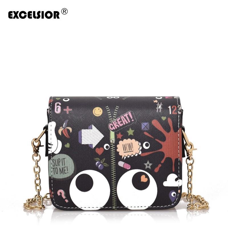 EXCELSIOR PU Leather Women Crossbody Bag Cartoon Graffiti Big Eyes Printing Flap Bag Single Shoulder Bags Ladies  Messenger Bag <br><br>Aliexpress
