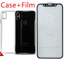 For Apple iPhone X 10 Screen Protector Tempered Glass Full Cover 3D 4D Curved Edge Protective Film Full Coverage + TPU Case(China)