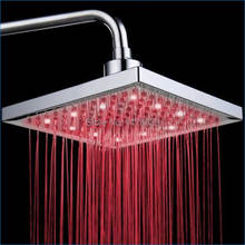 led rainshower shower heads,led shower head 8 inches,pressure top spray,Single Color,Rainfall shower heads,Free Shipping J14217(China)