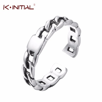 Kinitial New Thai Silver Jewelry Fashion Chain Spinner Rings for Man and Women Adjustable Finger Twist Ring Party Bijoux