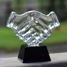 Crystal Decoration Business Supplies Gifts Office Handshake Partnership Ornaments Home Accessories Trophy