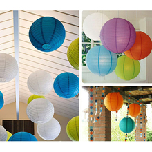 Hot 2015 (20pcs/Lot) 8'' 20cm Round Chinese Lantern Mutil Color White Paper Lanterns for Wedding Party Decoration Birthday Decor