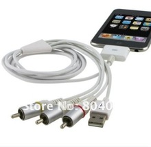 AK Dock Connector TV RCA Video Composite AV Cable + USB 2.0 for Apple for iPad 1 2 3 for iPhone 4 4S 3GS for iPod Touch for Nano