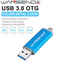 High Speed USB 3.0 OTG usb flash drive Metal pen drive 128gb 8gb 16gb 32gb memory stick u disk pendrive for Android phone