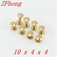 `20 Pieces 10*4mm Leather Craft Belt Wallet Solid Brass Nail Rivet Chicago Screw Cambered Head