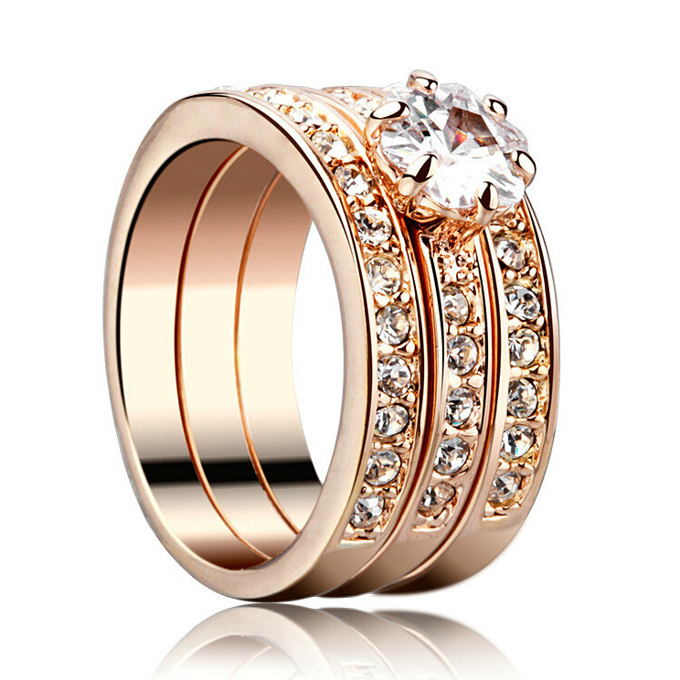 unique indian gold design of the three bands plated inlay aaa top quality zircon wedding rings - Indian Wedding Rings