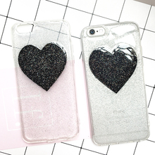 Glitter Peach Heart Jelly Phone Case Candy Soft Silicone TPU Love Case For iphone 7 7plus 6 6s 6plus Shell Back Cover Funda Case