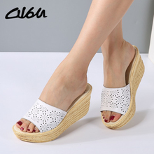 O16U Women Mules Clog Shoes Leather Slip on Peep Toe Ladies Cork Wedge Sandals Female Platform Sandals Shoes Flats 2017 Summer(China)
