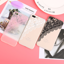 Retro Vintage Lace Flower Clear Case For iPhone 7 6 6S Plus Cartoon Cat Skull Cover For iPhone 6 6S 8 Plus Accessory Coque(China)