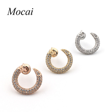 Brand Trend Simple Nail Earrings Gold Color Micro Pave Cubic Zirconia Modern Nails Earring Jewellery For Women ZK30