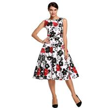 Red white explosion at the end of the rubbish sleeveless one hand rose print red retro ponceau princess dress(China)
