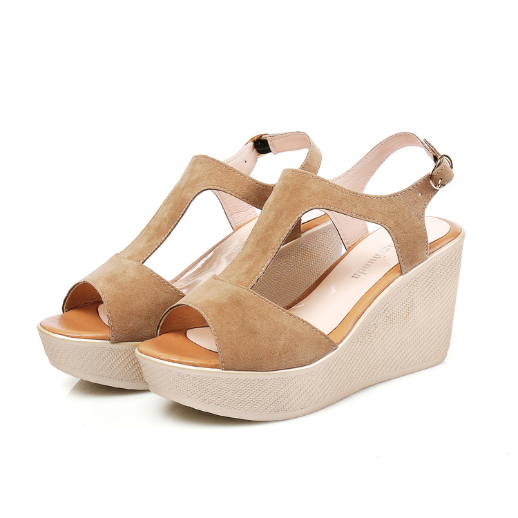 Lakeshi Casual Frauen Sandalen Creepers Keil Sandalen Flache Plattform Schuhe Sommer Frauen Schuhe Wildleder Peep Toe Damen Sandalen 2018 Frauen Sandalen Schuhe