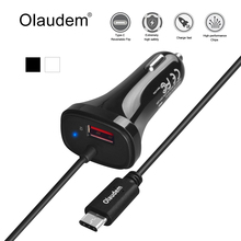 Olaudem USB 3.1 Type-C Car Charger USB A 5V 2.4A + USB-C 5V 2A Quick Charge QC 2.0 & 4 FT Type C Cable for Samsung HTC LG CG004
