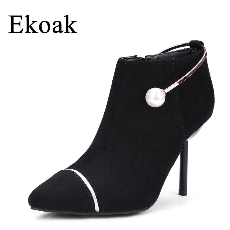 Ekoak Autumn Winter Flock Chian Snow Boots Women Fashion Zip Ankle Boots For Women Ladies Boots High Heels Shoes Woman<br>