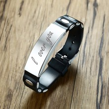 Men's Black Silicone Bracelet with Stainless Steel ID Tag Personalized Laser Engraved Pulseira Braslet Male Jewelry Adjustable(China)