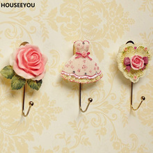 Resin Rose Flower/Heart /Dress Shaped Wall Mounted Hooks Vintage Hat Coat Robe Key Hooks Door Bathroom Towel Clothes Rack Hanger